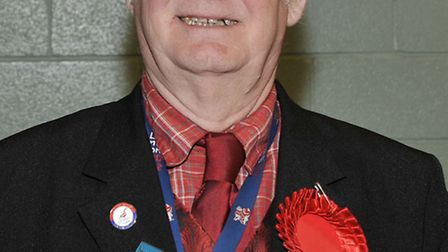 Cambridgeshire County Council election count at the Hudson Leisure Centre, Wisbech. Colin Gale (Lab)