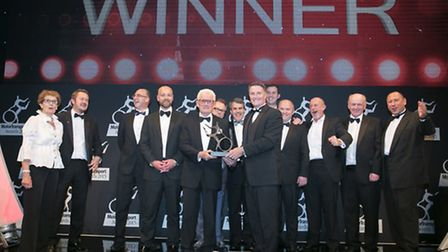 The Potter Logistics team receiving the Haulier of the Year award at the Motor Transport Awards.