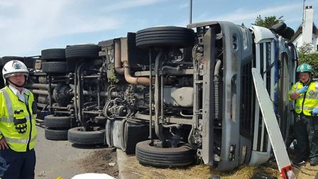 Emergency services called to overturned lorry at Thorney (PHOTO: Cambs fire and rescue)