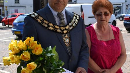 Mayor of March Councillor Rob Skoulding and Councillor Jan French pay their respects.