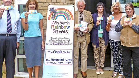 Volunteers of Wisbech Rainbow Savers Credit Union at the official launch of the Spice Time Credits
