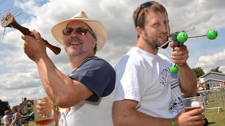World Championship Pea Shooting, at Witcham, (l-r) Ian Ashmead, and Rob Bresler,
