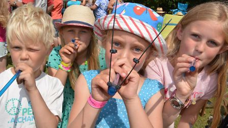 World Championship Pea Shooting, at Witcham, Junior players (l-r) Marcus Bresler, Charlotte Collins,
