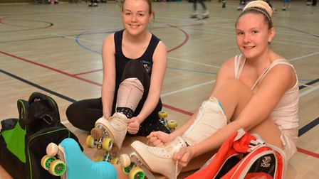 Littleport Leisure Centre Roller Skating Sessions, (l-r) Beth, and Charlotte, from Ely Roller Skatin