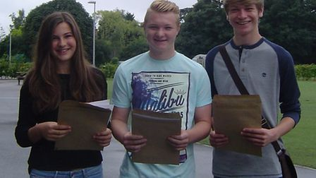 Happy with their results: Isobel Ludlow, Harry Stevens and Jack
