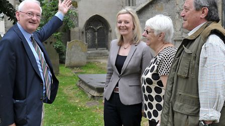 MP Liz Truss visit to St Clement's Church, Outwell as part of roof appeal. Left: Architect Richard W