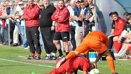 Wisbech Town vs Diss Town (FA Cup tie). Coach Dan Dobson sent off . Picture: Steve Williams.