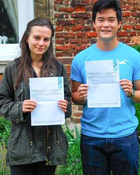 Students from The King's School, Ely, with their A-level results.
