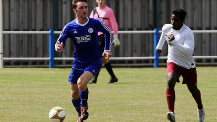 Josh Jewson on the ball in Takeley's win over Tower Hamlets. Picture by Jamie Pluck