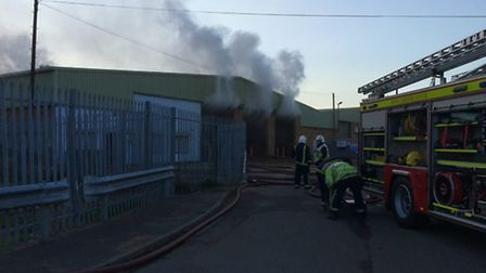 Fire crews tackle the Whittlesey blaze. Picture: Cambs Fire and Rescue