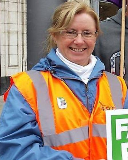 Vicky Cooper, branch secretary of the UNISON Fenland branch, pictured last year at a Peterborough UN