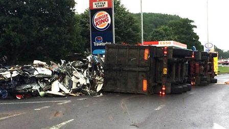A scrap metal lorry crashed this morning. Picture: Forest Heath Police