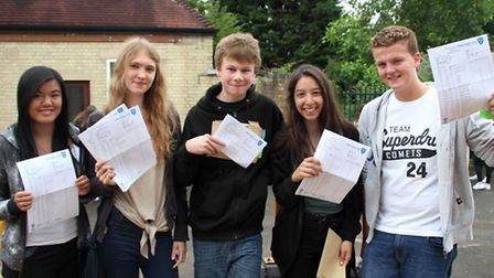 Students at Soham Village College with their results, from left: Lucy Wilkinson, Ella Peake, Alfie W
