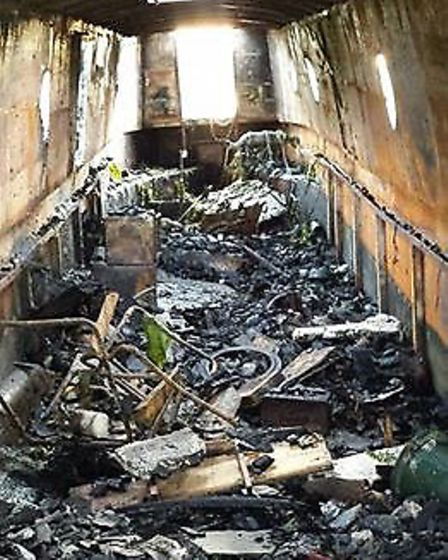 The boat belonging to Peter Demkiw that burnt out at Kings Dyke.