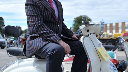 Wisbech historic run and show, Somers Road car park, Wisbech. Jeff Pearce on his vintage Lambretta P