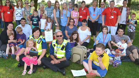 Picnic with the Police, at High Barns Community Centre, Ely, with (front l-r) PCSO Emma Graves, and