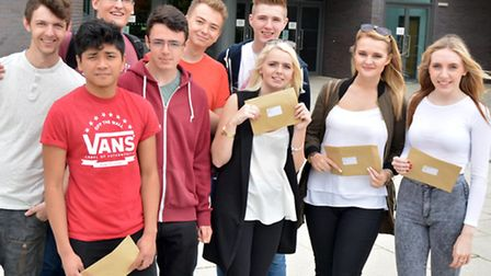 AS-level students at Neale-Wade Academy, March, with their results.