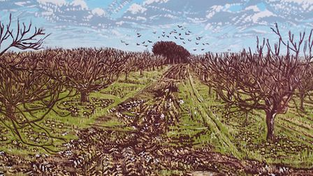 Louise Stebbing's linocut 'Waiting for Spring', which was selected for The Royal Academy's exhibitio