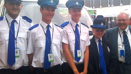 Sir Graham Bright chatting to police cadets in Ely