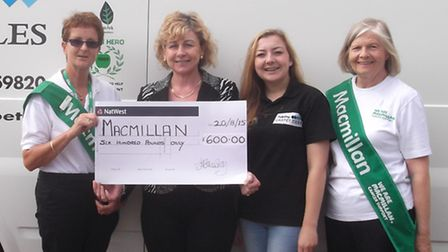 Jo Fuller-Gray and Katie Mowatt are presenting the cheque to Janet Tuffs (left) and Gillian Kime of