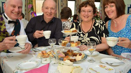 St Mary's Church Ely, Tea at the Ritz in aid of Potter's Village in Uganda, (l-r) Rev Chris Hill, Pe