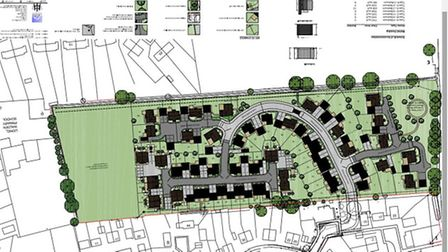 Proposed lay out of 62 homes for Bevills Place, Doddington