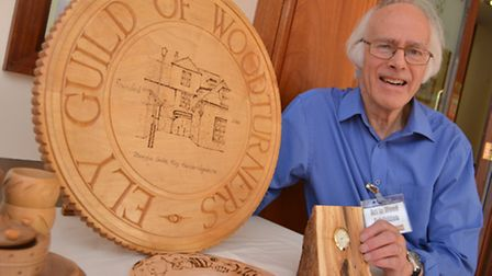Ely Guild of Woodturners, annual exhibition, at the Cathedral Centre, Secretary Peter Symonds, with