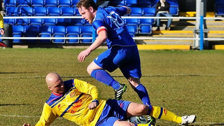 Alex Martin is tackled. Picture by Jamie Pluck