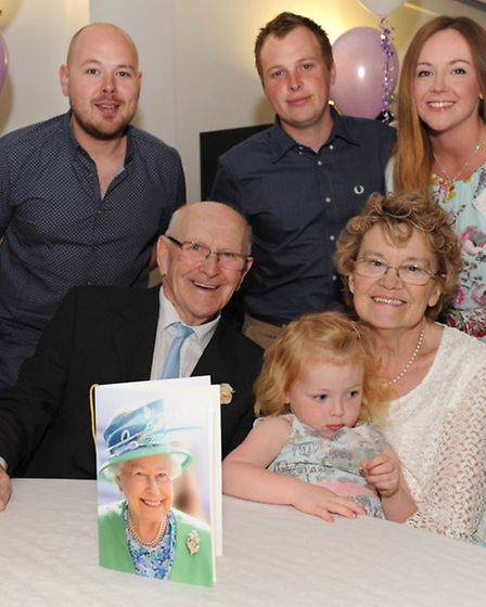 Norman and Hazel Gale celebrate with family. Picture: ROB MORRIS