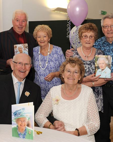 Norman and Hazel Gale with their card from the Queen, with Chick and Ivy Mottram and Bill and Shirly