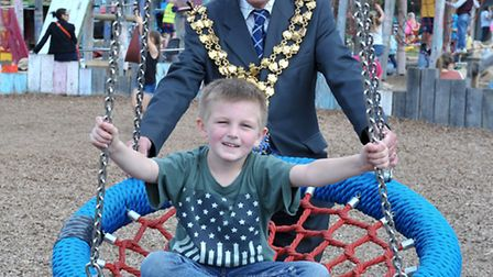 National Play Day at Wisbech Adventure Playground. Mayor of March, David Hodgson with Braedon on the