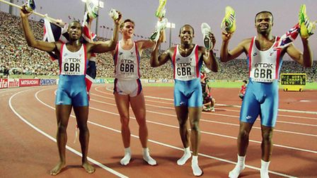 Great Britain celebrate winning gold in the 4 x 400 metres Relay final at the 1991 World Championshi