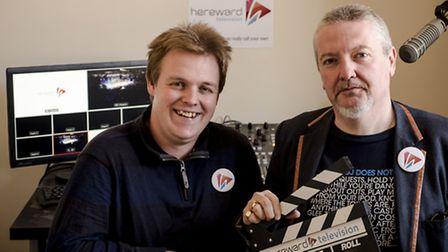 Caption: Nik Fox (Technical Director, left) and alex:g (Station Director, right) in the mixing studi