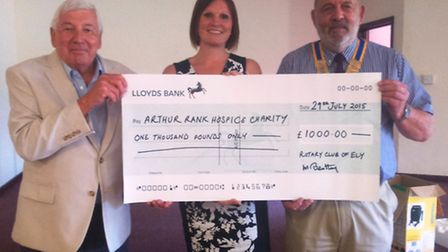 Ely Rotary Club presents cheque to hospice charity