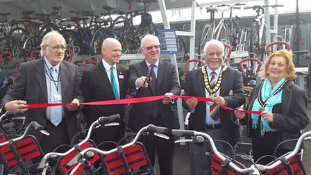A ribbon-cutting ceremony for the Ely rail station cycle compound.