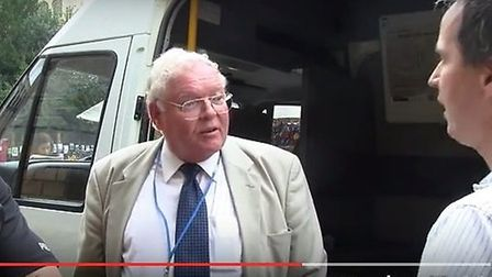 Blogger Richard Taylor on the streets of Cambridge interviewing Sir Graham Bright