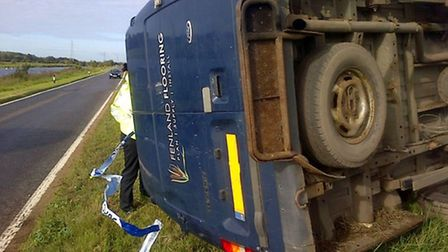 A van ended up on its side following the Whittlesey collision.