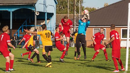 Action from March Town United v Stowmarket Town. Picture: BARRY GIDDINGS.