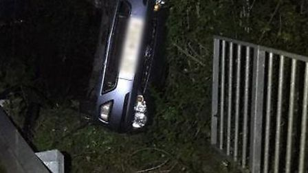 A car ended up on its side in Chatteris. Picture: FENCOPS.