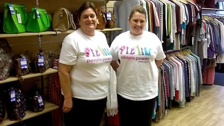 Julie and Karen in the new charity shop in Wisbech