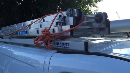 Police were called into action when a set of ladders fell fromn a van onto the A47. Picture: FENCOPS
