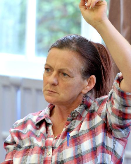 Tina Thompson at a meeting for Sanctuary residents at March Community Centre. Picture: Steve William