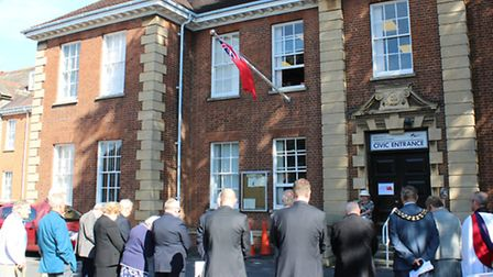 Ensign flag flies over the Fenland Hall