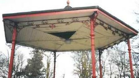 Wisbech bandstand ceiling that needs refurbishing shwoing the posts in red