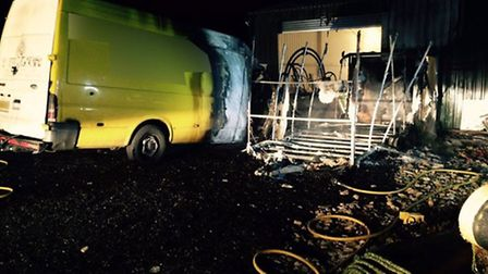 Fire destroyed a storage unit van and trailer. Picture: CAMBS FIRE.