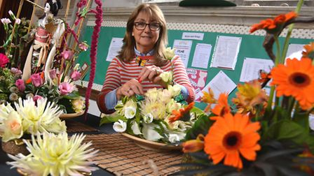 Flower Festival At St Peter's Church, Wilburton, Margaret Dooling, with her work,
