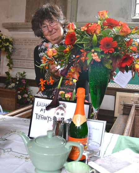 Flower Festival At St Peter's Church, Wilburton, Angela Causton, with her work,