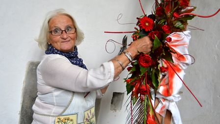 Flower Festival At St Peter's Church, Wilburton, Jill Stimpson, with her work,