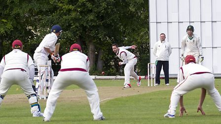 Chris Ringham bowling for March against Burwell II. Picture: PAT RINGHAM.