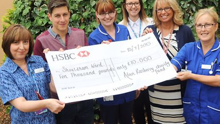 Cheque being presented to the Shouldham ward. at Kings Lynn hospital. Pictured, from left, are ward